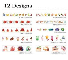 12Designs 15/20/30mm*8M Fruit /Fish /Cake /Vegetables/Popsicle Pattern Japanese Washi Decorative Adhesive DIY Masking Paper Tape