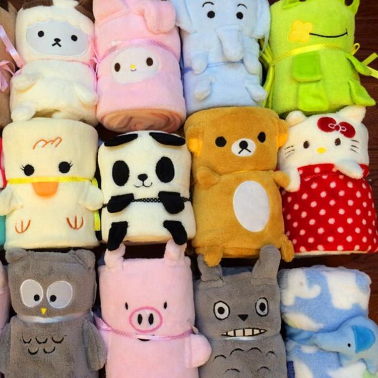 1 Piece 100x80cm Flannel Cartoon Owl Totoro Panda Elephant Design Blanket Tv Sofa Blanket Air Condition Cover Blanket Carpet