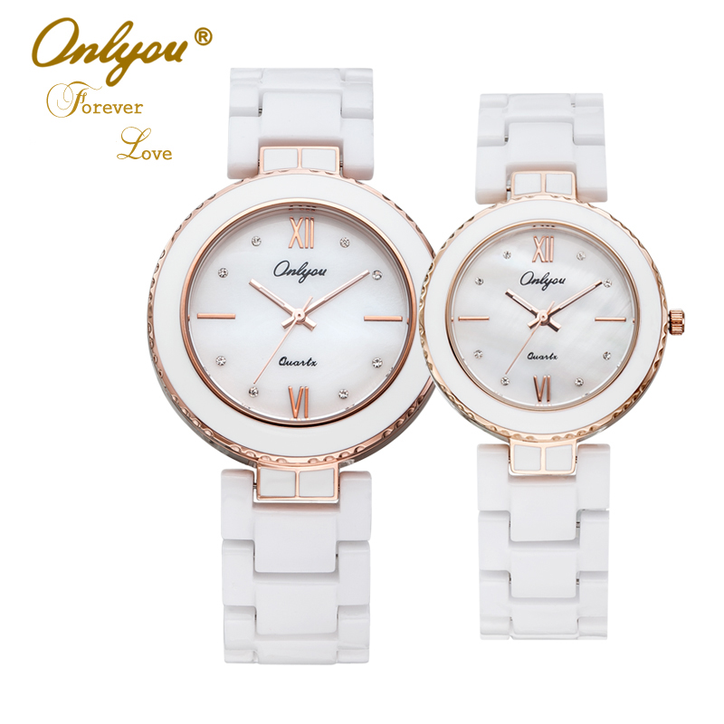 Ladies Bracelet Watch White Ceramic Watches Onlyou Luxury Brand Men Women Wristwatches Quartz Watch Rose Gold Female Clock 8831 2016 luxury brand ladies quartz fashion new geneva watches women dress wristwatches rose gold bracelet watch free shipping