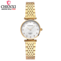 CHENXI New Hot Luxury Women Watch Elegant Ladies Montre Femme Golden Stainless Steel Strap Electronic Quartz