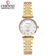 CHENXI New Hot Luxury Women Watch Elegant Ladies montre femme Golden Stainless Steel Strap Electronic Quartz Wristwatch relojes