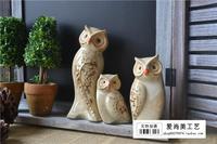 Zakka tạp hóa ba mảnh bộ các gốc gốm duy nhất màu xanh lá cây glaze owl với Nhật Bản hàng tạp hóa nhà decorathead Thuật Thủ Công Mỹ Nghệ nhà