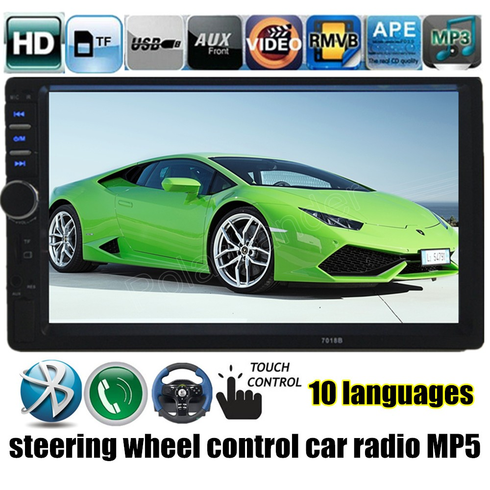7 Inch Touch Screen Car Radio 2 DIN MP5 MP4 Player USB TF FM reverse priority bluetooth steering wheel control stereo 12v 4 1 inch hd bluetooth car fm radio stereo mp3 mp5 lcd player steering wheel remote support usb tf card reader hands free