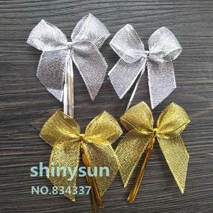 Image 1 - 20 шт./лот 2 вида цветов золотистый и серебристый бант, запечатывающая проволока для хлеба, украшение торта, проволока, закрученный галстук