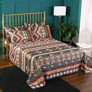 Image 4 - Bomcom Boho Streifen bettwäsche set Ethnische Vintage Hipster Aztec Pastoralen Land Stil Böhmischen Bettbezug set 100% mikrofaser