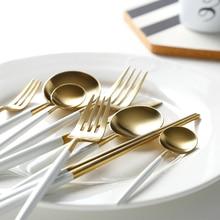 Hot Sale 24Pcs/set White Gold european Dinnerware knife 304 Stainless Steel Western Cutlery Kitchen Food Tableware Dinner Set