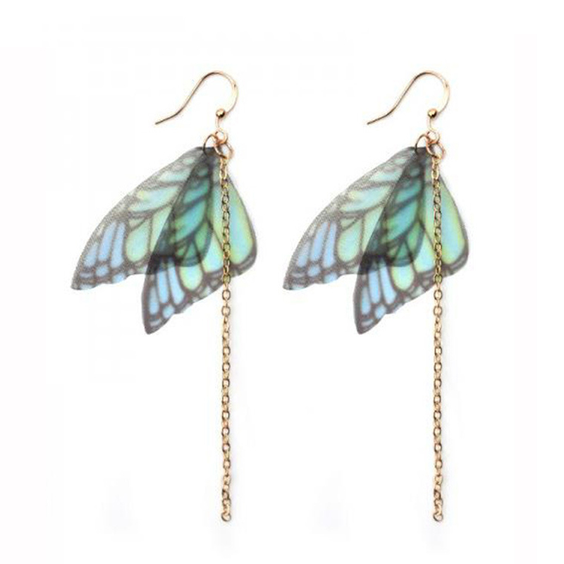 New Design Handmade Ethereal Butterfly Drop Earrings Long Chain Tassel Drop earring For  ...