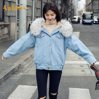 2018 Winter Fashion Fur Jeans Coat Fur Denim Jacket Female Outerwear Thick Warm Fur Denim Jakcet XZ173
