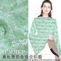 Blue floral gold thread yarn dyed senior natural silk fabric summer light fresh silk chiffon elegant fabric DIY materials