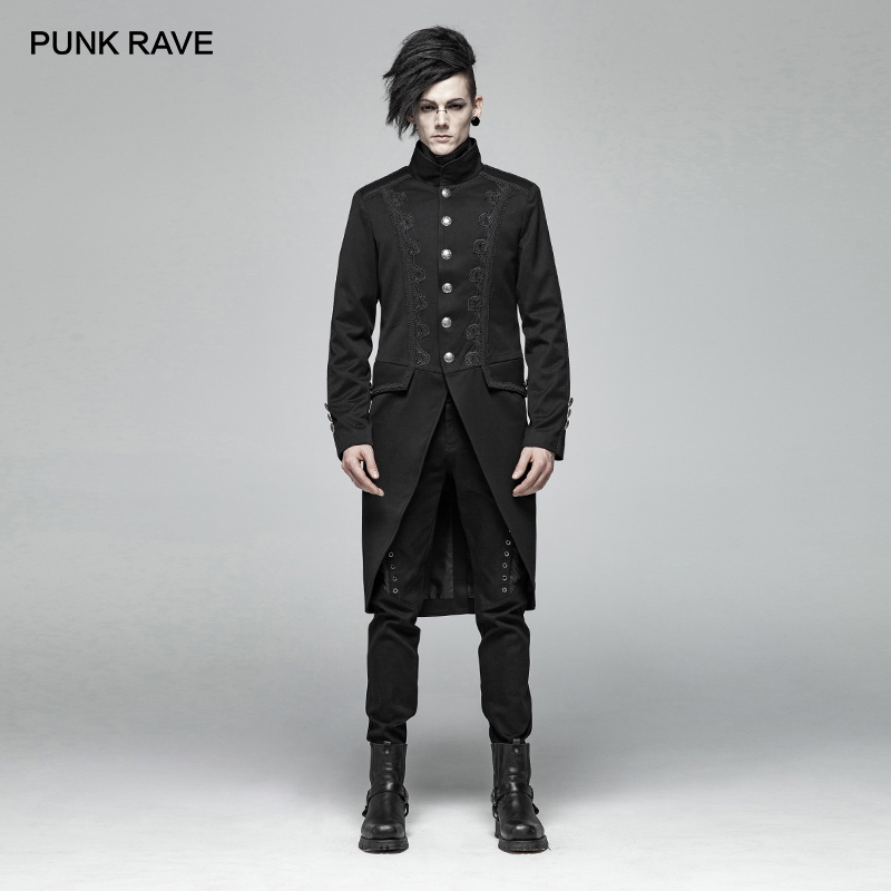 PUNK RAVE New Gothic Black Mid length Men's Coat Woven Suit Fabric Steampunk Party Cospaly Overcoat Mens Trench Coat Jacket