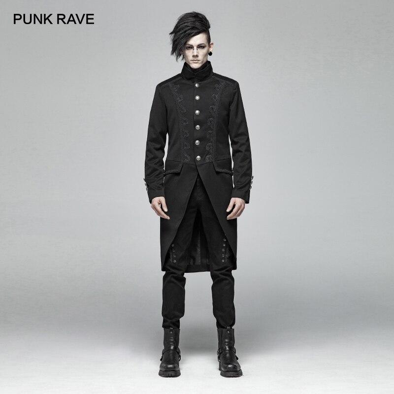 PUNK RAVE Nouveau Gothique Noir Mi-longueur Hommes de Manteau Tissé tissu de costumes Steampunk Parti Cospaly Pardessus Mens trench-coat Veste