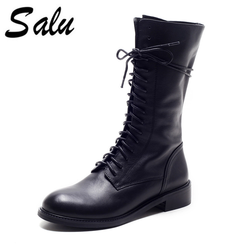 Salu Women mid-calf Boots Spring Fall Genuine Leather Lace Up Shoes Fashion Casual Shoes Woman BootsSalu Women mid-calf Boots Spring Fall Genuine Leather Lace Up Shoes Fashion Casual Shoes Woman Boots