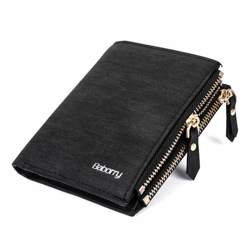 cfc978ab182c Baborry двойная молния монета мешок RFID Блокировка Для мужчин Женские  Кошельки новый бренд PU кожаный бумажник
