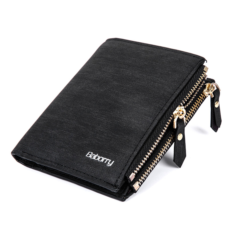 Baborry Double Zipper Coin Bag RFID Blocking Men Wallets New Brand PU Leather Wallet Money Purses Black Big Capacity Purse rfid blocking men wallets double zipper coin bag famous brand pu leather wallet money purses luxury big capacity wallet carteira