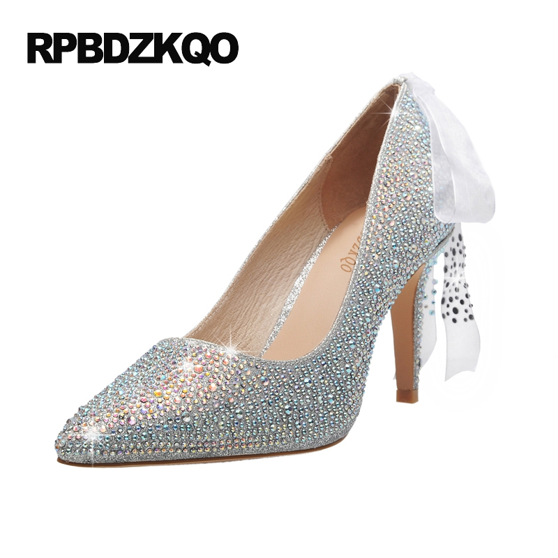 Plus Size Stiletto Wedding Celebrity Crystal Silver Rhinestone Luxury Women Shoes Pumps High Heels 3 Inch Bling Cinderella 33 new vogue celebrity brand desiger women sandals stiletto feather hairy buckle strap high heels bridesmaid bridal wedding pumps