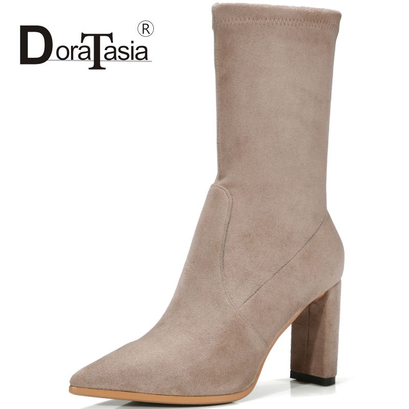 DoraTasia Cow Suede Women Med Calf Boots Vintage Thick High Heels Pointed Toe Shoes Woman Fashion Boots superstar cow suede tassel leather boots platform zipper med heels rivets snow boots round toe mid calf boots for women l2f7