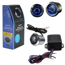 12V Universal Car Engine Start Push Button Switch Ignition Starter Kit Blue LED