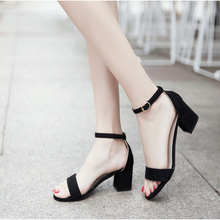 2019 Ankle Strap Heels Women Sandals Summer Shoes Women Open Toe Chunky High Heels Party Dress Sandals Big Size 42 karinluna big size 32 43 ankle strap women shoes colorful printing bohemia wedge high heels summer sandals party shoes woman