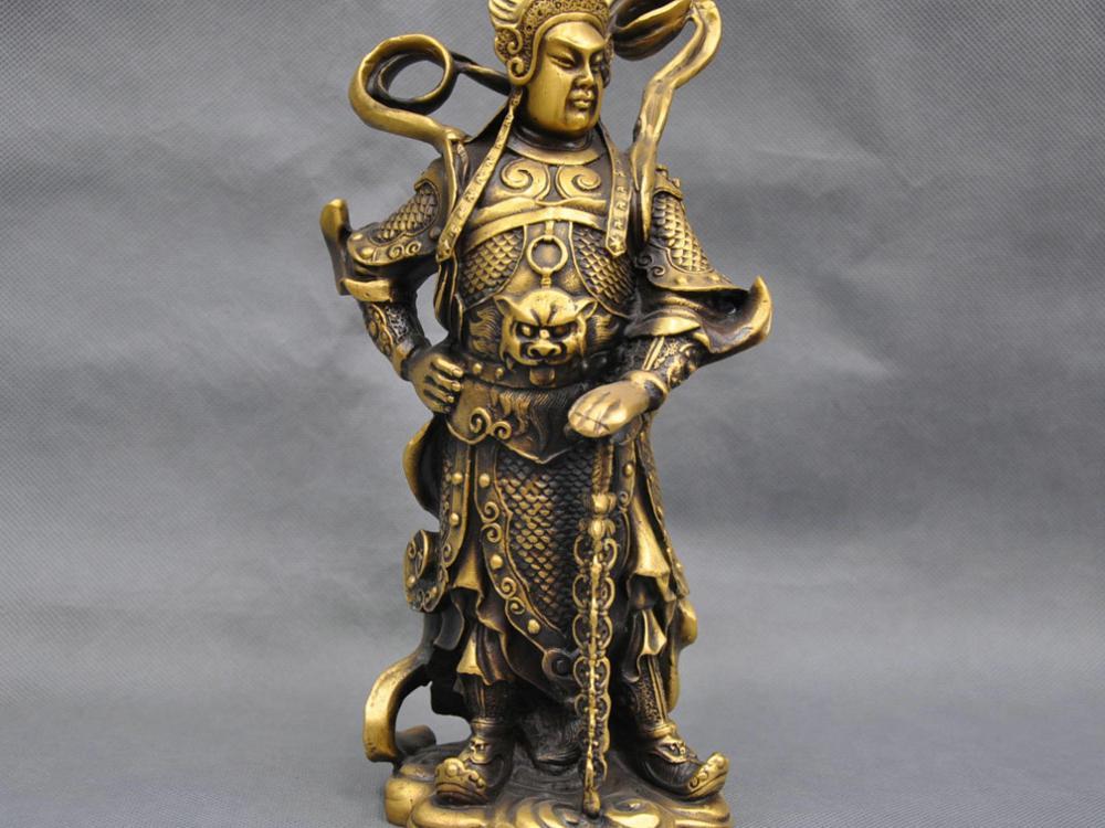 10'' China Warrior Guardian Door Wei Tuo Protector Bronze Statue