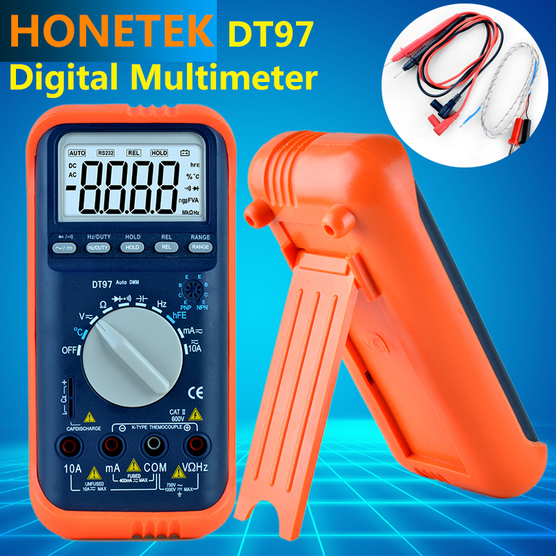 Newest Auto Range LCD Backlight AC/DC Ammeter Voltmeter Ohm Portable Meter digital multimeter for Stable performance vc99 auto range 3 6 7 digital multimeter 20a resistance capacitance meter voltmeter ammeter alligator probe thermal couple tk
