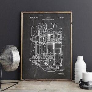 Патент двигателя внутреннего сгорания, печать на холсте, художественное оформление поезда, постер для настенного искусства, декор комнаты, ...