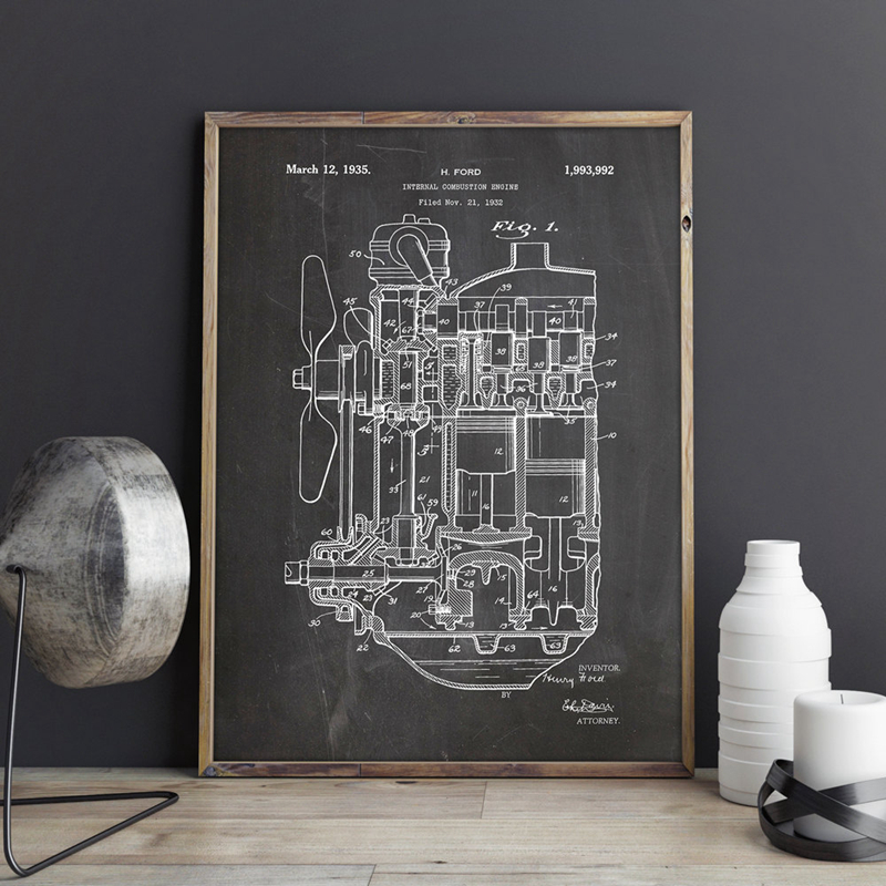 Internal Combustion Engine Patent Canvas Prints Train Artwork Wall Art Poster Room Decor Blueprint Painting Gift Wall Decoration