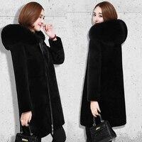 Women Clothes Hooded Large Fur Collar Faux Fur Sheep Shearing Coat Female Long Section Winter Thick Plush Coat Women Coat