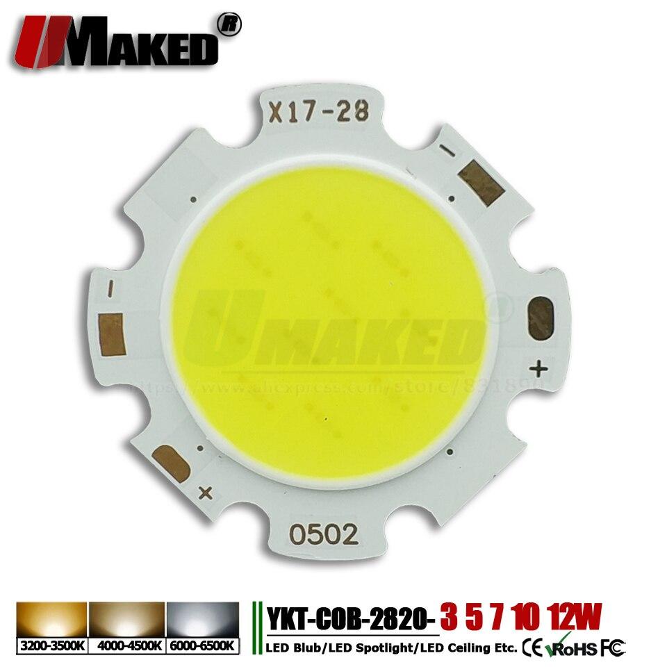 10pcs LED beads Cob chip 2820 300mA 3W 5W 7W 10W 12W Round COB chips Warm/Natural/White for led bulb spotlight ceiling lgiht DIY