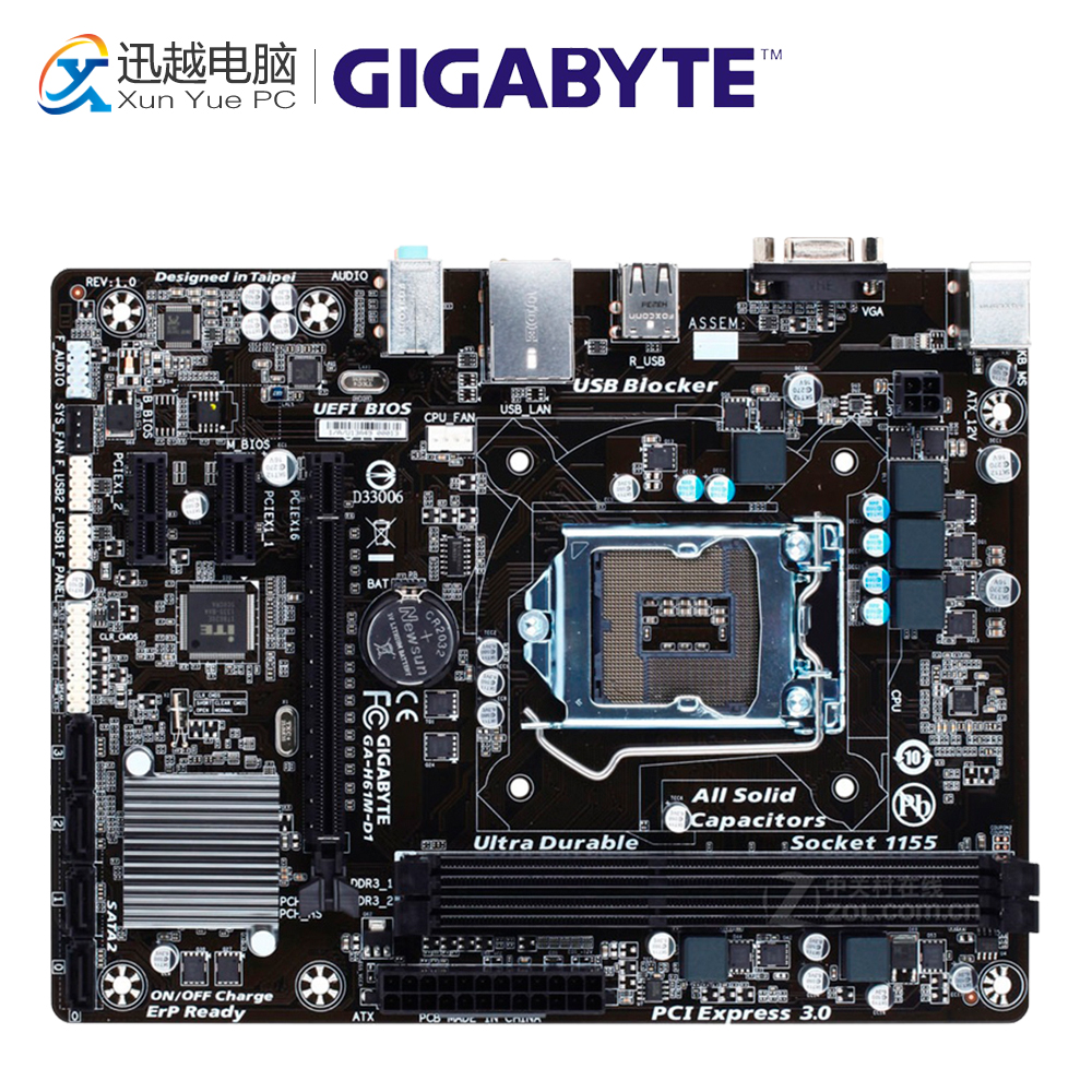Gigabyte GA-H61M-D1 Desktop Motherboard H61M-D1 H61 LGA 1155 i3 i5 i7 DDR3 16G USB2.0 Micro-ATX original used gigabyte ga h61m ds2 desktop motherboard h61 for intel lga 1155 i3 i5 i7 ddr3 16g uatx uefi h61m ds2 mainboard