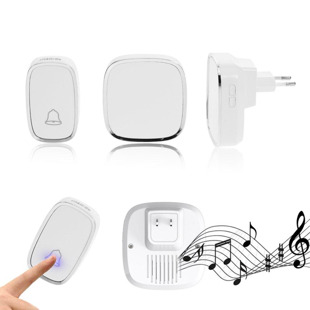 New White EU Plug Wireless Doorbell Waterproof Smart 36 Melody Led Ring Door Bell AC220V 1 Push Doorbells Button +2 Receivers