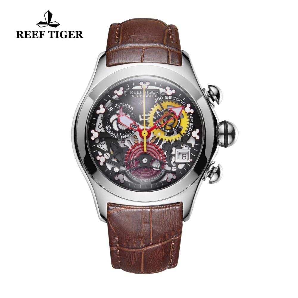 Récif tigre/RT mode Sport montres femmes en cuir véritable bracelet étanche montres en acier squelette montres analogiques RGA7181