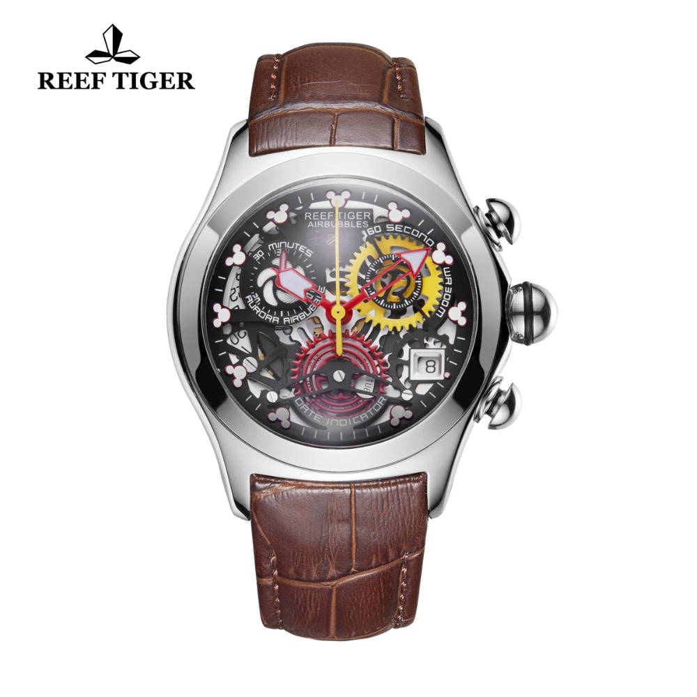 Reef Tiger/RT Fashion Sport Watches Women Genuine Leather Strap Waterproof Watches Steel Skeleton Analog Watches RGA7181 блуза боди arefeva одежда с рукавом классической формы