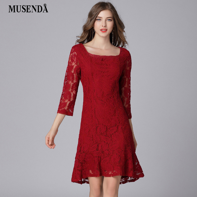 MUSENDA Plus Size Women Burgundy Lace Square Collar 3 4 Sleeve Tunic Dress  New 2018 6f9e0d21f700