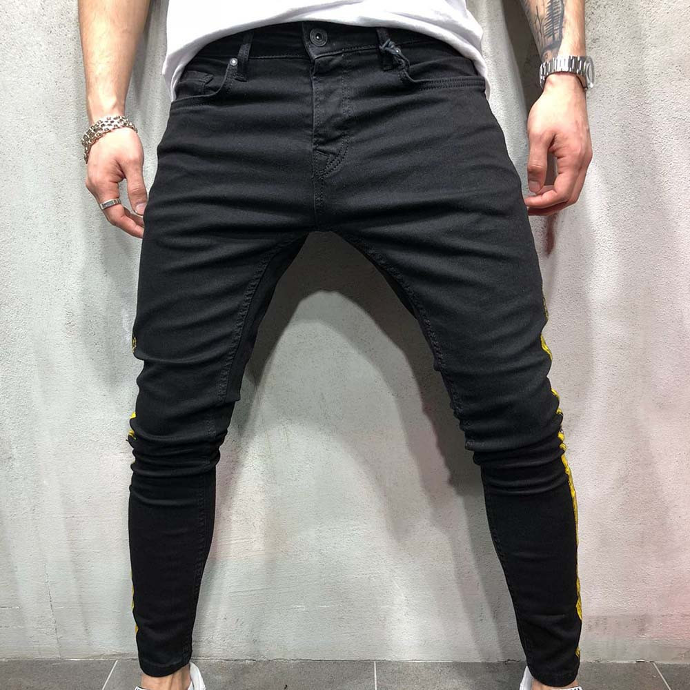 FeiTong Skinny   Jeans   Men Clothes 2018 Autumn Denim Cotton Straight Hole Trousers Distressed   Jeans   Pants Denim Male