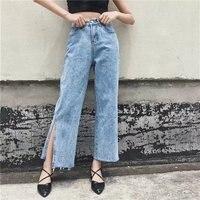 Vintage Side Split Frauen Jeans Taschen Einfach Weibliche Breite Beinhosen