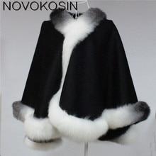 SC01 2018 Winter Warm Luxury Fox Fur Poncho Cashmere Dyeing Shawl Women Real Fur Dip-dye European Black With White Cardigan Coat