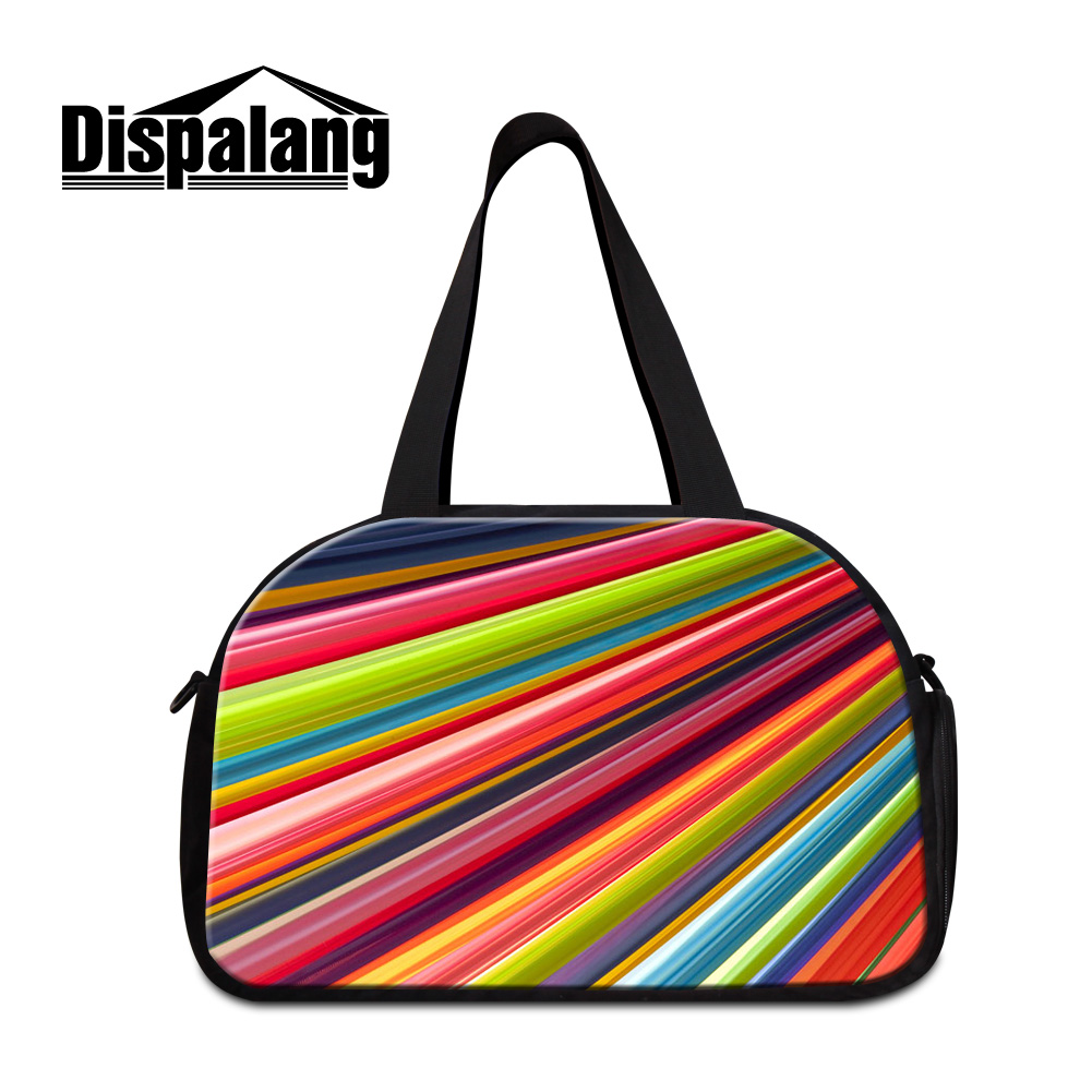 Dispalang high quality colorful striped printing meduim size women travel duffle bags brand designer mens business luggage bag