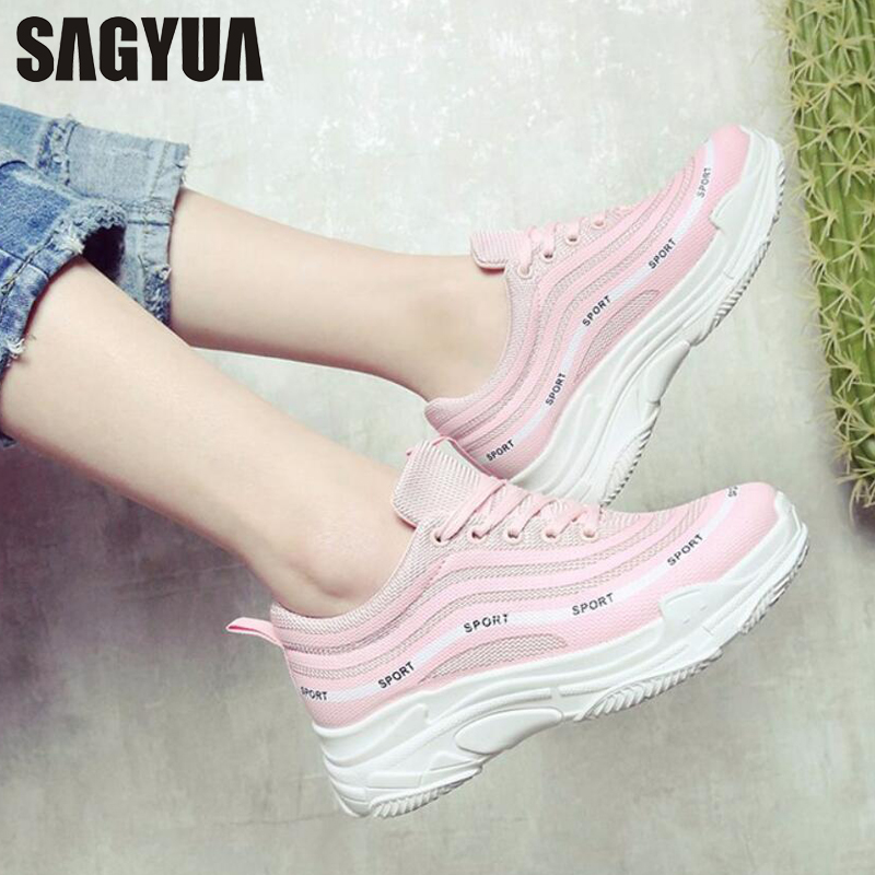 SAGYUA Trending Students Women Fashion Casual Girlish Feminino Mujer Mesh Air Cloth Thick Soled Zapatos Sapatos Flat Shoes T353 sagyua hot fashion stitchwork rose spring students maiden women zapatos casual female sapatos flat shoes chaussures flattie t136