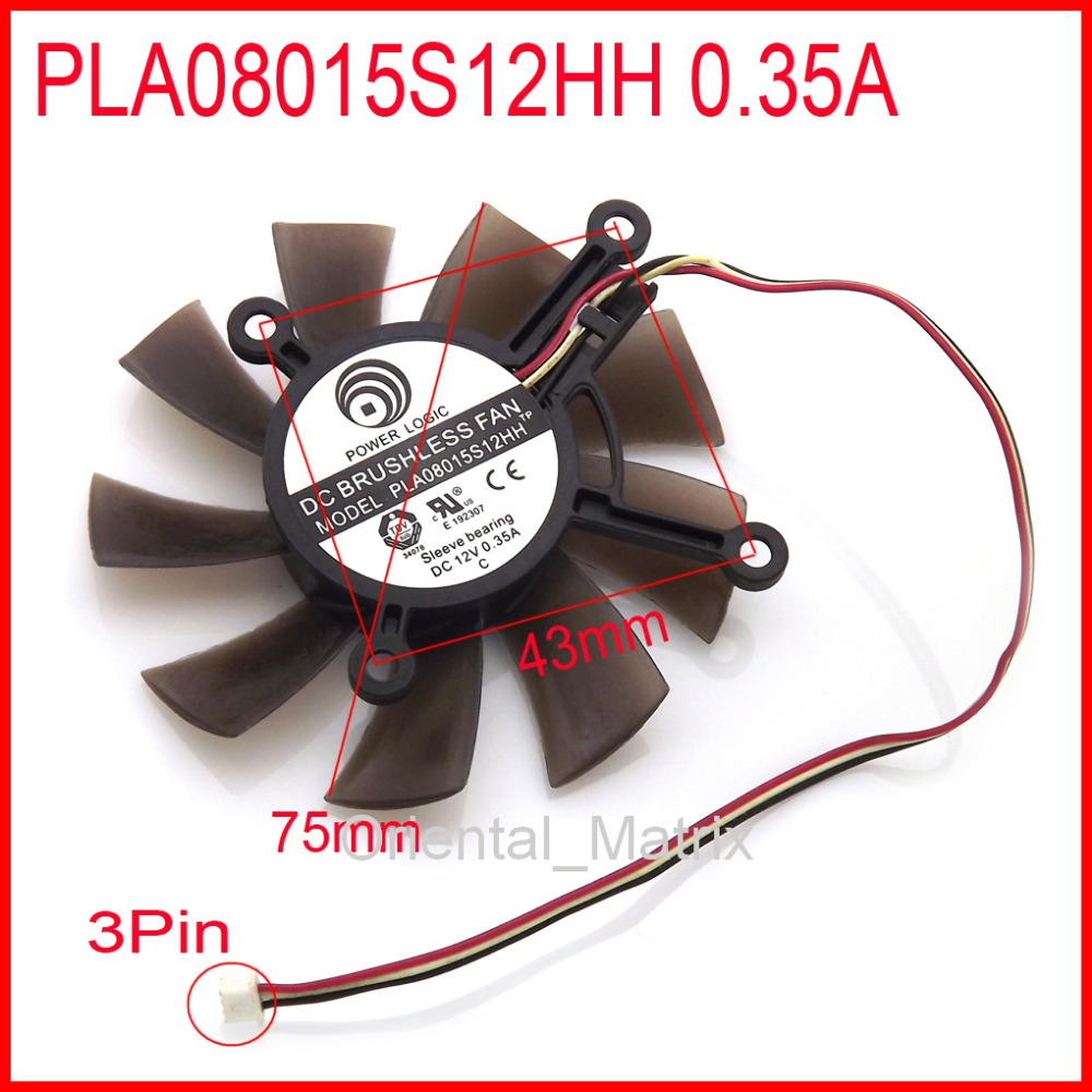 New PLA08015S12HH 12V 0.35A 75mm 43*43*43*43mm For ASUS Graphics / Video Card Cooler Cooling Fan 3Pin personal computer graphics cards fan cooler replacements fit for pc graphics cards cooling fan 12v 0 1a graphic fan