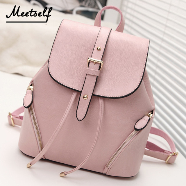 5264391ec MEETSELF New School Bag Ladies Backpack College Bag Fashion PU Leather  Girls Backpack Women Mochila Meninas
