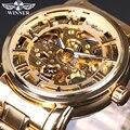 2017 Reloj de Los Hombres de Primeras Marcas de Lujo Ganador Esqueleto Reloj de Acero Lleno de La Correa Relojes Mecánicos Automáticos de Oro Vestido Reloj Masculino