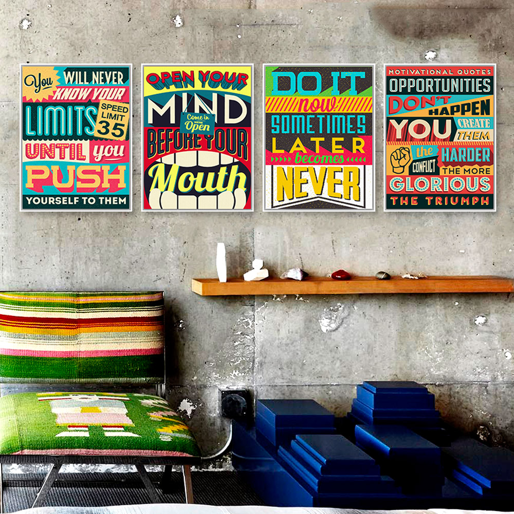 Inspiration Typography Motivation Quotes Vintage Poster Print Hippie Wall  Art Picture Modern Bar Home Decor Canvas Part 70