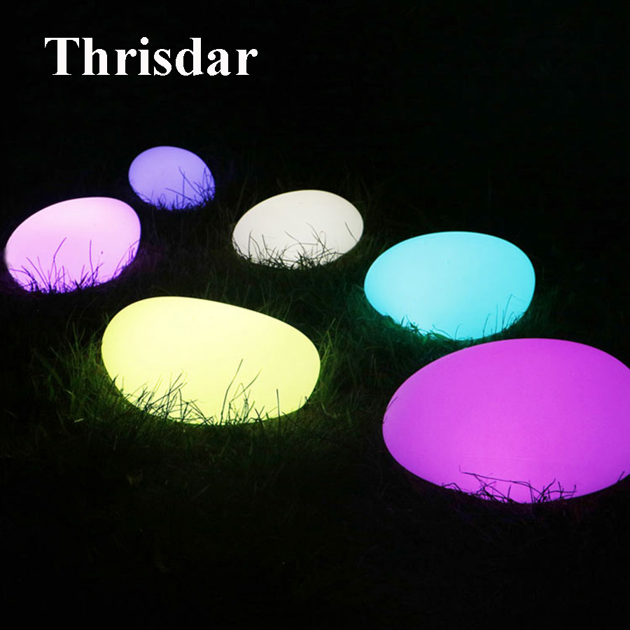 Thrisdar RGB Simulation Stone Shape LED Night Light IP68 Outdoor Garden Landscape Lawn Pathway Deck Light Swimming Pool Lights