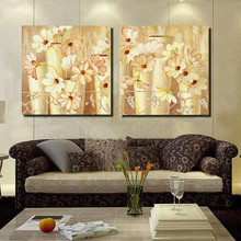 2 Panel Handpainted flower Paintings Abstract Modern Oil Painting on Canvas Home Decor Wall Art Picture Living Room dining room
