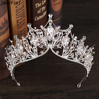 JaneVini Gorgeous Silver Headdress Wedding Crowns And Tiaras Bridal Rhinestone Headband Women Jewelry Crystal Hair Accessories