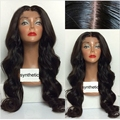 Mimi hair Cheap Glueless synthetic lace front wig Natural Black Long Body Wave Synthetic Wigs For Black Women free part 3-4 inch