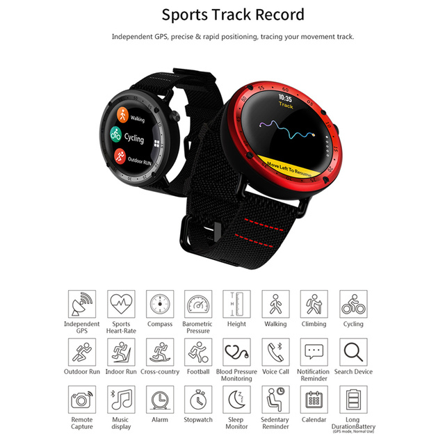 SENBONO L19 GPS Sport smart watch support fitness tracker Compass Height heart rate IP67 waterproof SMS Pushing 5