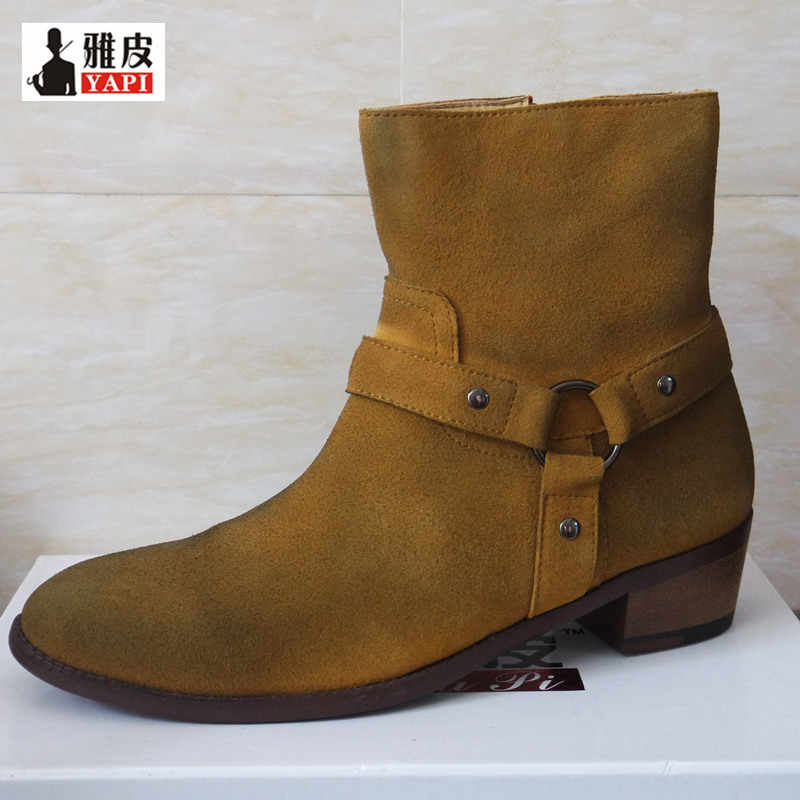 Распродажа! Подлинный кожаный ремень пряжка ботинки «Челси»; Для мужчин Мода острый носок, на молнии, ботильоны в ковбойском стиле; повседневные ботинки