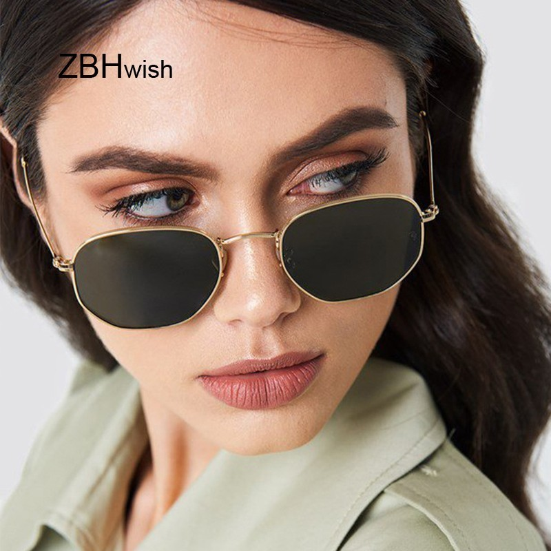 Small Polygonal Metal Sunglasses Women Brand Designer Vintage Sun Glasses Female Oval Retro Eyewear UV400