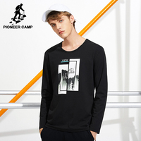 Pioneer Camp New Style Printed Fashion T Shirt Men Brand Clothing Long Sleeve Autumn Spring T